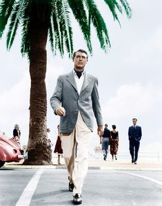 Cary Grant crossing the Croisette in Cannes (1955)