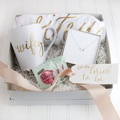 Personalized Bride Gift Set, Bride to Be Engagement Gift, Wifey Tee, Wifey Mug, Stamped Necklace, Bridal Shower Gifts, Custom Gift Set