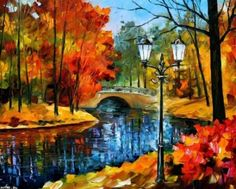 By Leonid Afremov Park - Park, Leonid Afremov, Autumn, Art, Bridge, River, Painting, Autumn Park, Fall Painting, Leonid Afremov Paintings