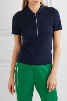 FRAME - Wool And Cashmere-blend Polo Shirt - Navy -