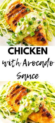 You are going to love this easy and healthy Chicken with Avocado Sauce Gluten free and low carb this is perfect for a weeknight dinner Serve with zucchini noodles and it. Entree Recipes, Lunch Recipes, Low Carb Recipes, Dinner Recipes, Healthy Recipes, Kid Recipes, Freezer Recipes, Freezer Cooking, Drink Recipes