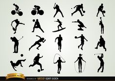 Set of Sport Silhouettes performing different sports in hot actions. Under Creative Commons 3.0 Attribution License.