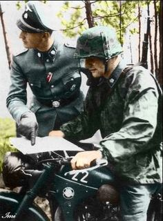 Nazi Soldiers, and that's a BMW motorcycle