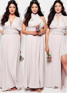 5fa6b198ced40 Popular Spandex V-neck Neckline Convertible Plus Size A-line Bridesmaid  Dresses Multi Way