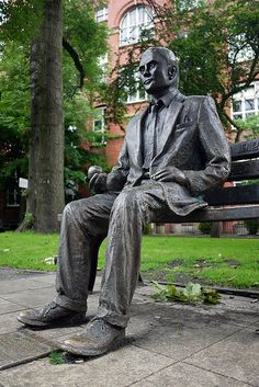 Statue in memorial to Alan Turing, Sackville Gardens, Manchester, England, United Kingdom, 2011, photograph by Ian Rhodes. Turing, a mathematician and logician, was considered by Churchill to have made the single greatest contribution to the war effort against the Nazis through his code breaking work. He was prosecuted for homosexuality in 1952, chemically castrated, and subsequently committed suicide at age 42, an action the British government would not apologise for until 2009.