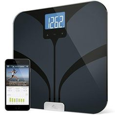 Weight Gurus Bluetooth Smart Connected Body Fat Scale with Large Backlit LCD by Greater Goods (Black)