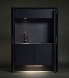 Japanese kitchen manufacturer Sanwa has designed a set of four kitchen units tailored to those with limited living space. The Affilato Hide unit is c. Micro Kitchen, Hidden Kitchen, Compact Kitchen, Kitchen Units, Kitchen Layout, Kitchen And Bath, Design Studio, Küchen Design, House Design