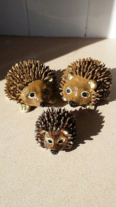 Hedgehog family. handmade pottery