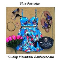 Blue Paradise Matching Top and Skirt with Adustable Straps (Blue Floral Design) - Smoky Mountain Boutique