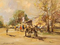 Christiaan Nice (SA, born 1945) Oil, Donkey Cart Afrikaans, Donkey, Cart, Oil, Painting, Image, Covered Wagon, Painting Art, Karting