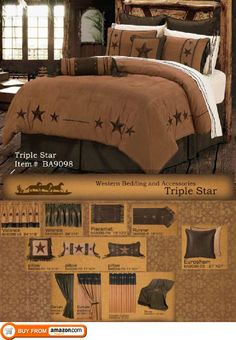Western Bedding Rustic Lodge Embroidered Star Barbwire 5 Piece Queen, Luxurious and affordable . Designed for a Western, country, southwestern or mountain style bedroom. Create your own western retreat with soft bedding made from microfiber faux suede fabrics. The Beddi..., #Home & Garden, #Comforter Sets, $304.99