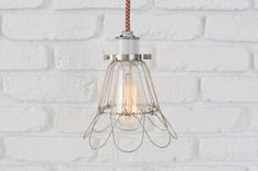SILVER CAGE LAMP w/ ceramic socket  59.00  Can select color of cord