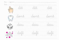 Cursive Handwriting, Handwriting Worksheets, Catalan Language, Preschool Worksheets, Embroidery Patterns, Diagram, Album, Lettering, Hotels