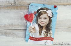 Create custom #Valentines cards by taking a photo pretending to hold a sucker and then cutting the picture to hold the sucker. #DIY