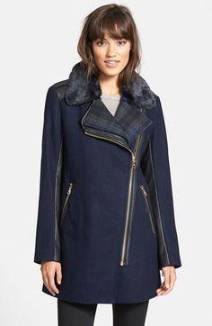 Sam Edelman 'Leah' Faux Fur & Plaid Trim Asymmetrical Coat -- On Sale!