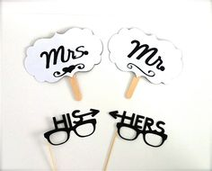 Mrs and Mrs Photo Booth Props Signs and by CreativeButterflyXOX