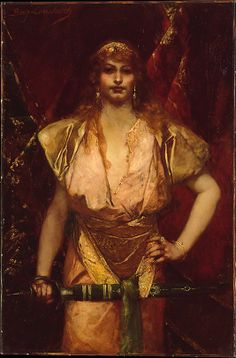 Benjamin-Constant (Jean-Joseph-Benjamin Constant) (French, 1845–1902). Judith. The Metropolitan Museum of Art, New York. Gift of J. E. Gombos, 1959 (59.185) | This work, which may date to about 1886, depicts Judith, the biblical heroine who saved her besieged city by beheading the general Holofernes. Benjamin-Constant portrayed her as an avenging beauty, proudly bearing her sword. #sword