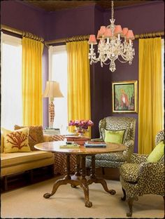 Genial 20 Chic Interior Designs With Yellow Curtains Like Purple Yellow Animal  Print Combo. And The