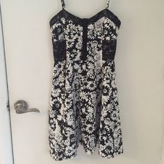 Black and white floral Bethany Mota dress Black and white floral fit and flare. Has black lace on sides and top. Adjustable straps. From Bethany Mota's collection at Aeropostale. 95% cotton & 5% spandex. Aeropostale Dresses Mini