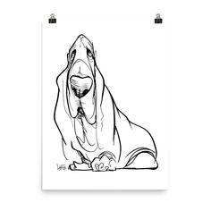 Basset Hound Gesture Sketch Poster