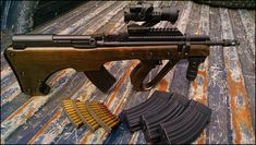 SKS rifle in custom wooden bullpup stock