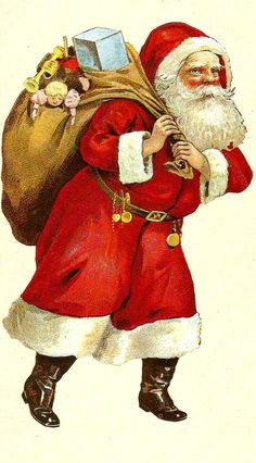 Vintage Santa with sack on his back The Night Before Christmas, Father Christmas, Santa Christmas, Christmas Cards, Xmas, Vintage Christmas Images, Victorian Christmas, Holiday Images, Holiday Postcards