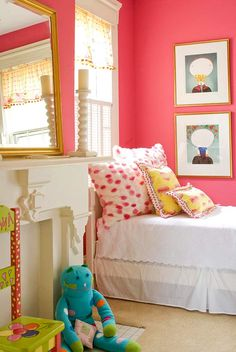 Seeing this coral shade made me want to rush out and buy new paint for Emma's already pink room.  Love it with the turquoise and yellow.