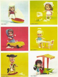 Liddle Kiddles.  These are the first ones from the early 60s. I was sooooo obsessed with Kiddles. But they were all my sister's and her friends.