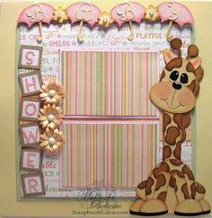 ** My Paper Crafting.com **: Baby Shower Giraffe Layout  Doodlecharms, Pooh and Friends, Songbird,cartridges