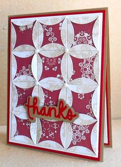 handcrafted quilt card: TLC544 thanks by tessaduck  ... cathedral windows technique ... luv the way they fill the card in a 3X4 grid ... pearls on the crossings ... luv it!
