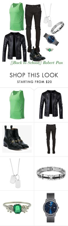 """""""[}Back to School{] Robert Pan"""" by shadow-x ❤ liked on Polyvore featuring New Balance, Gucci, Balmain, Variations, Lord & Taylor, Emporio Armani, men's fashion and menswear"""