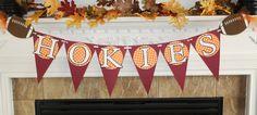 Hokies Virginia Tech football banner. $20.00, via Etsy.