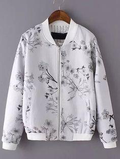 Light+Grey+Stand+Collar+Floral+Pockets+Jacket+24.17