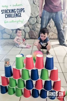 Great active and creative energy buster for kids that are stuck inside. Love that all I need is cups for this stacking challenge! Gross Motor Activities, Outdoor Activities For Kids, Creative Activities, Hands On Activities, Infant Activities, Preschool Activities, Nanny Activities, Outdoor Games, Summer Activities