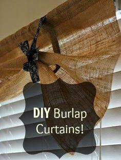 Easy, DIY Burlap Kitchen Curtains! #DIY