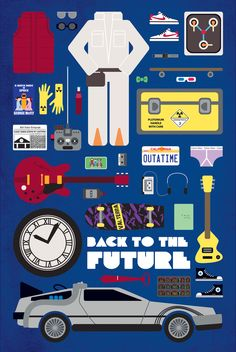 vector illustration movie parts poster by graphic designer emma butler, canada. more movie parts poster here. Back To The Future Party, The Future Movie, Back To The Future Tattoo, Poster Art, Poster Series, Poster Ideas, Poster Minimalista, Retro, Movies And Series