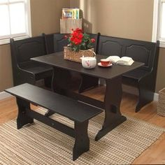 Tms Furniture Nook Black Dining Set With Corner Dining Table 40094Blk