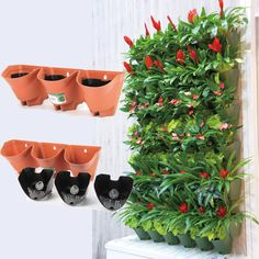 Worth Self Watering Vertical Wall Planter Flowerpot,Hanging Plant Pots 3-pockets #Worth