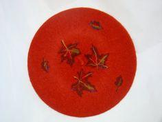 Fieltro de la aguja hechos a mano de 100% lana de lana australiana boina terracota color boina francesa las mujeres boina de lana de estilo Vintage