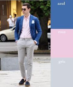 He aquí el ejemplo opuesto a la combinación pasada: dos tonos claros y uno oscuro. ¿Quién dijo que el rosa no era para hombres?
