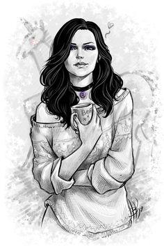 Домашняя Йена :) Йеннифер, ведьмак 3, арт, рисунок, скетч, Единорог, зима