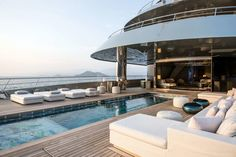 Interior & exterior photos of SAVANNAH, the Feadship mega yacht, designed by Feadship & CG Design with an interior by CG Design. Yacht Design, Boat Design, Oberirdischer Pool, Swimming Pools, Billard Design, Spas, Yatch Boat, Luxury Yacht Interior, Luxury Yachts