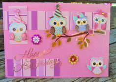 Owl Party handmade card FWB birthday card by RogueKissedCraft Handmade Greetings, Greeting Cards Handmade, Handmade Gifts, Birthday Cards, Happy Birthday, Owl Card, Pink Owl, Family Birthdays, Pink Flowers