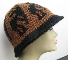 Tapestry Crochet Cloche Wide Rimmed Hat  Kokopelli Pattern by WowwyGaZowwy on Etsy