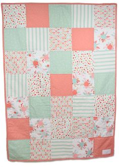 Baby quilt - girl quilt - modern - chevron - coral - teal - gold - mint - gray -nursery - baby bedding - Polka dot - floral - stripe- minky - soft- crib bedding - nursery bedding - home and living  This Peanut Butter Pie baby quilt is made from a new 100% cotton fabric, backed in a super soft light gray minky. Made in a clean, smoke free environment. The batting is a low loft natural cotton giving the blanket a lightweight yet functional feel. It measures 41 inches wide and 57 inches long…