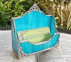 NEW Turquoise Business Card Holder by MoreThanColors on Etsy, $29.50
