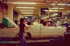 One of the very last Cadillac Eldorado convertibles rolls toward completion on the assembly line, 1976.