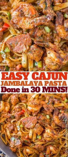 Easy Cajun Jambalaya Pasta with chicken, sausage and shrimp and all the delicious deep Louisiana flavor in just 30 minutes! Easy Cajun Jambalaya Pasta with chicken, sausage and shrimp and all the delicious deep Louisiana flavor in just 30 minutes! Cajun Jambalaya Pasta, Cajun Pasta With Sausage, Sausage And Shrimp Recipes, Chicken And Shrimp Pasta, Recipes With Hot Sausage Links, Jambalaya Recipe Without Shrimp, Cajun Shrimp And Chicken Pasta Recipe, Chicken Pasta, Cajun Recipes