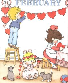 """A Child's Year"""" by Joan Walsh Anglund - February Valentines Art, Vintage Valentines, Happy Valentines Day, Valentine Cards, Winter Illustration, Cute Illustration, Joan Walsh, Holly Hobbie, Vintage Paper Dolls"""