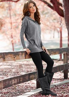 Hooded sweater with kangaroo pocket, basic leggings offered in black or brown